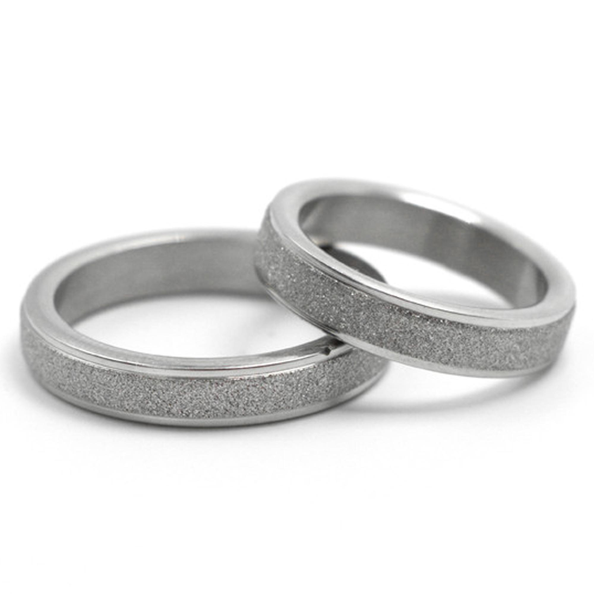 Men or Women Stainless Steel Sparkleblast 6MM 4MM Sparkle Silver Wedding Rings