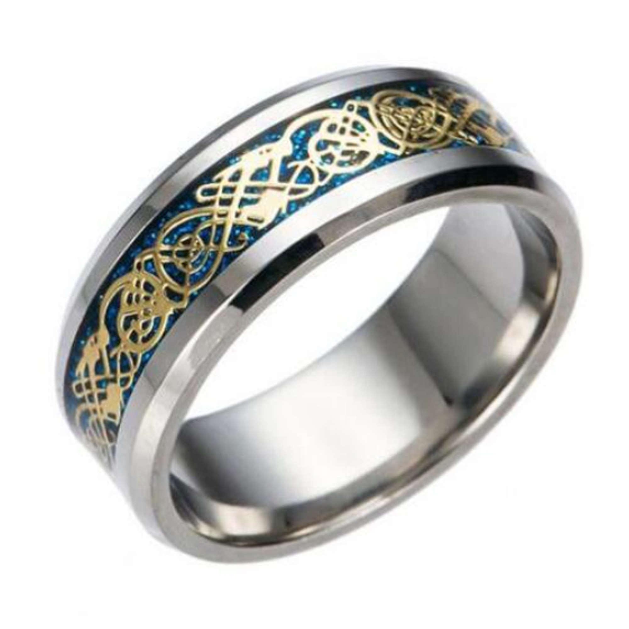 It is an image of Details zu 355mm Blue Gold Stainless Steel Mens Womens Celtic Band Silver Wedding Ring K - Z35