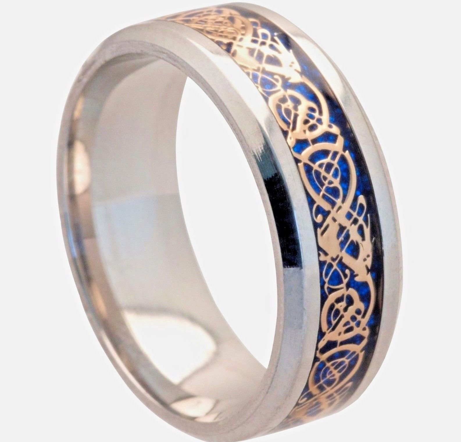 This is a picture of Details zu 41mm Blue Gold Stainless Steel Mens Womens Celtic Band Silver Wedding Ring K - Z41