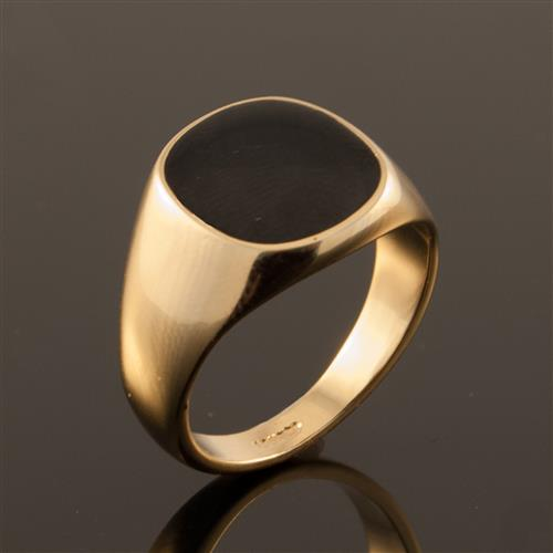 Yellow Gold Plated Black Onyx Mens Signet Wedding Band Pinky Ring L