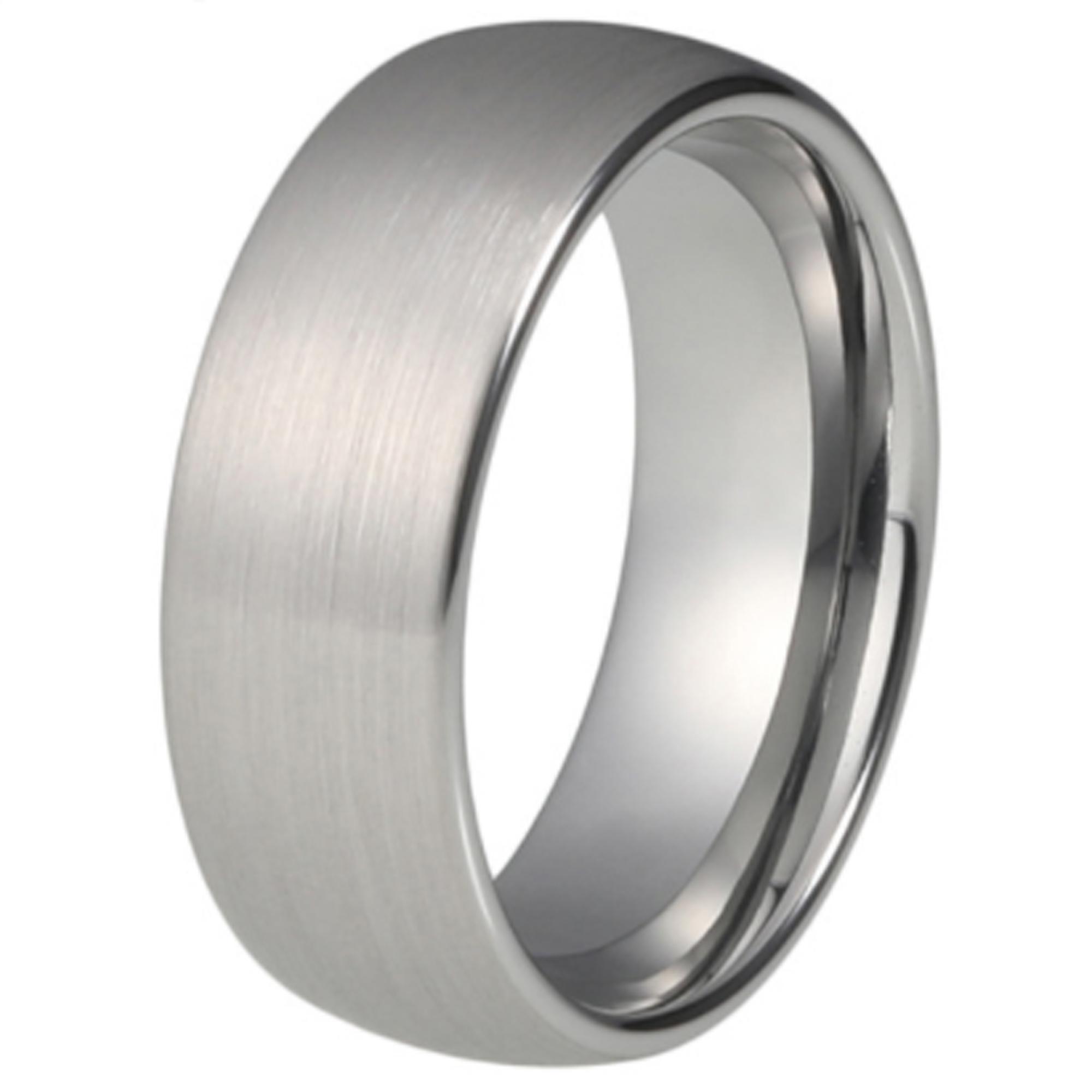 8mm Tungsten Carbide Mens Wedding Band Womens Silver Ring Uk Z 1 2